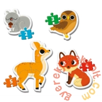 Clementoni 4 az 1-ben Bébi sziluett puzzle (2,3,4,5 db-os) - Erdei állatok (20814)