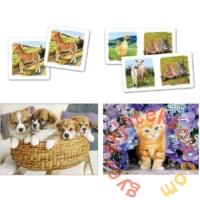 Clementoni 2 x 30 db-os puzzle + Memo + Dominó  - Állatok (20240)
