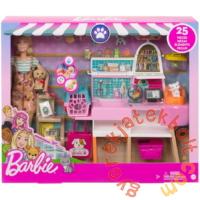 Barbie Kisállat bolt és kozmetika játékszett babával (GRG90)