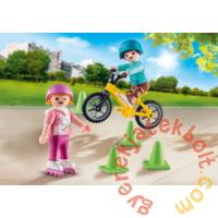 Playmobil - Special Plus - Görkorizó és bicikliző gyerekek játékszett