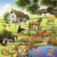 Ravensburger 3 x 49 db-os puzzle - Állatok az erdőben, állatkertben és a ház körül (09265)