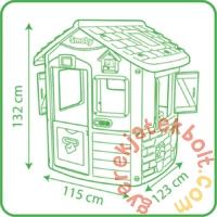 """<p style=""""text-align: justify;"""">A <strong>Smoby Nature házikó konyhasarokkal kék-zöld színben (810703) </strong>kül- és beltérre egyaránt alkalmas, könnyen összeszerelhető kisház. Egyik oldalán kis lengőajtón lehet bejutni a há"""
