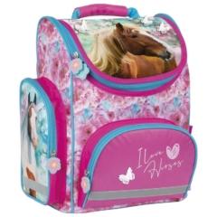 Lovas ergonomikus iskolatáska - I love horses - Kék-rózsaszín