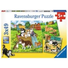 Ravensburger 3 x 49 db-os puzzle - Kutyák és cicák (08002)