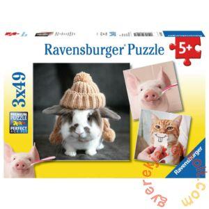 Ravensburger 3 x 49 db-os puzzle - Mókás állatportrék (08028)