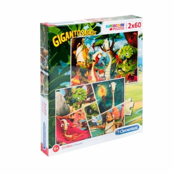 Clementoni 2 x 60 db-os puzzle - Gigantoszaurusz (21614)