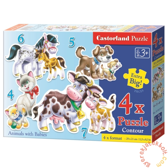 Castorland Sziluett puzzle (4,5,6,7 db-os) - Állatok és kicsinyeik (B-04218)