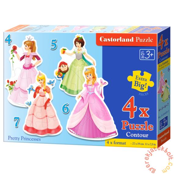 Castorland Sziluett puzzle (4,5,6,7 db-os) - Csinos hercegnők (B-04409)