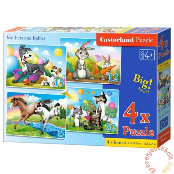 Castorland 4 az 1-ben puzzle (8,12,15,20 db-os) - Anyák és kicsinyeik (B-041053)