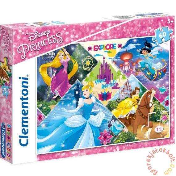 Clementoni 60 db-os Szuper Színes puzzle - Disney Princess - Fedezd fel a világot! (26980)