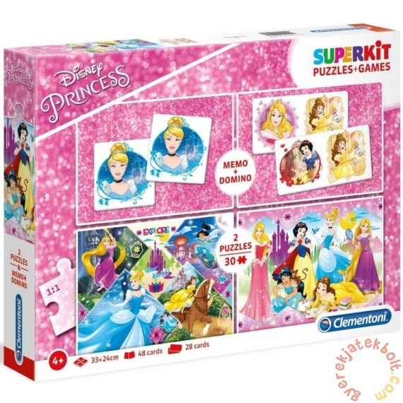 Clementoni 2 x 30 db-os puzzle + Memo + Dominó  - Disney hercegnők (20208)