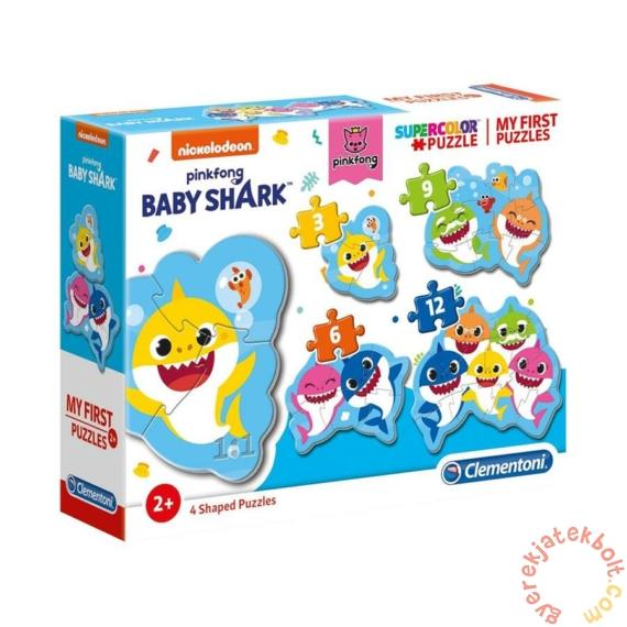 Clementoni 4 az 1-ben Bébi sziluett puzzle (3,6,9,12 db-os) - Baby Shark (20828)