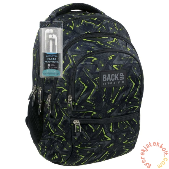 BackUp iskolatáska, hátizsák - 4 rekeszes - Zöld mintás (PLB1C31)