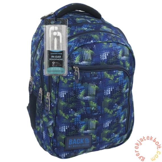 BackUp iskolatáska, hátizsák - 3 rekeszes - Kék-zöld (PLB1D30)