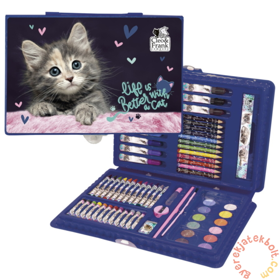 Cleo és Frank cicás 71 részes rajzkészlet - Life is better with a cat
