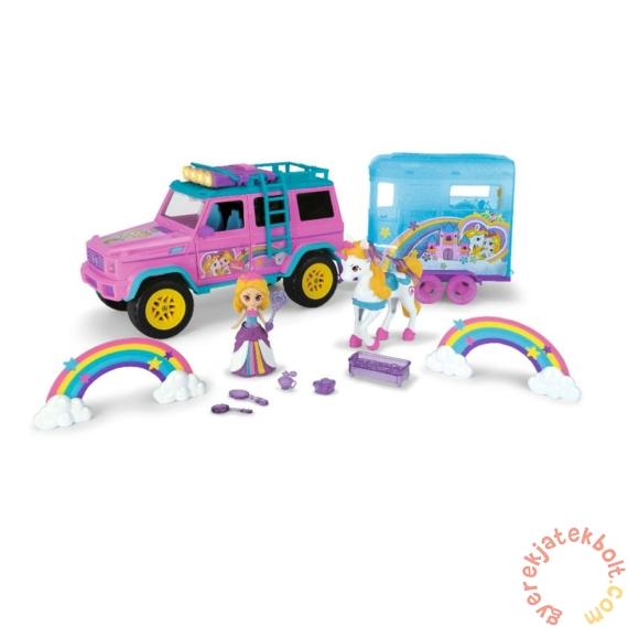 Dickie Pink Drivez unikornis szállító autó szivárvány hercegnővel - 40 cm