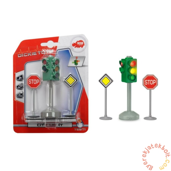 City Light közlekedési lámpa és tábla játékszett