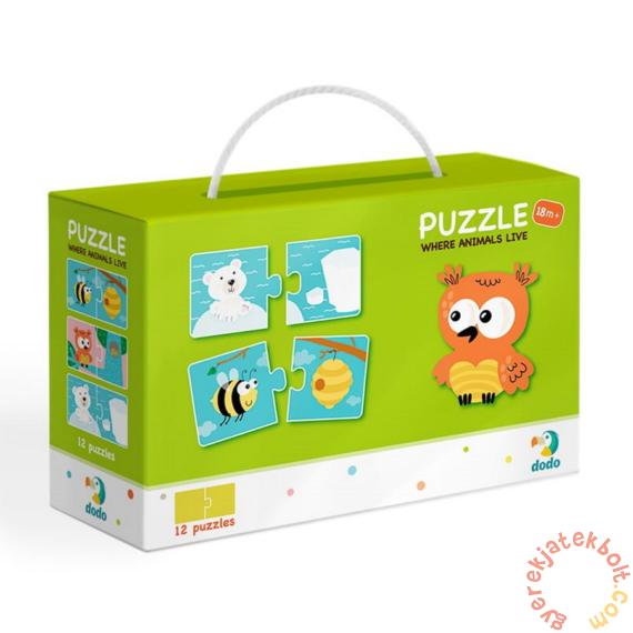 Dodo 2 x 12 db-os Duo puzzle - Hol élnek az állatok (300117)