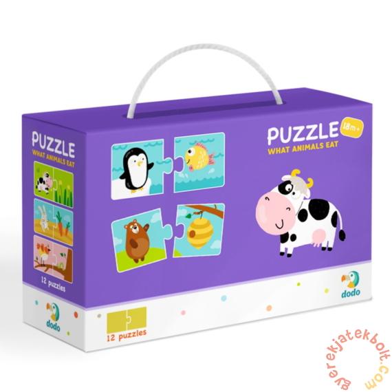 Dodo 2 x 12 db-os Duo puzzle - Mit esznek az állatok? (300118)