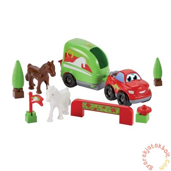 Écoiffier Abrick Lószállító autó lovakkal játékszett - piros autóval (3347)