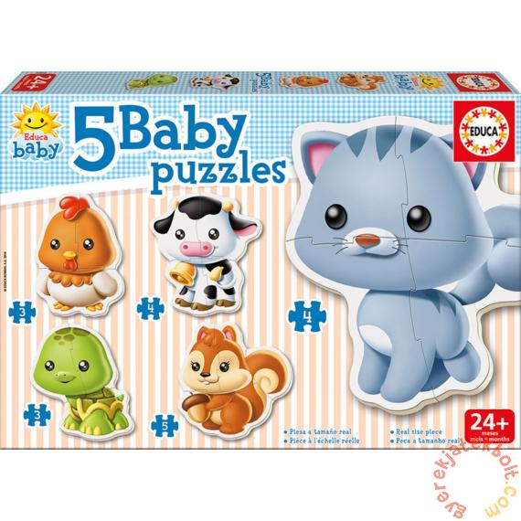Educa 5 az 1-ben Baby sziluett puzzle (3,4,5 db-os) - Állatok - Cicás (13473)