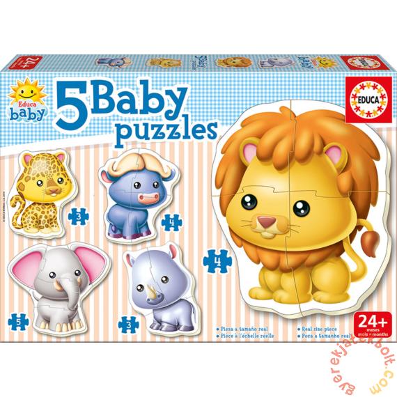 Educa 5 az 1-ben Baby sziluett puzzle (3,4,5 db-os) - Vadállatok (14197)