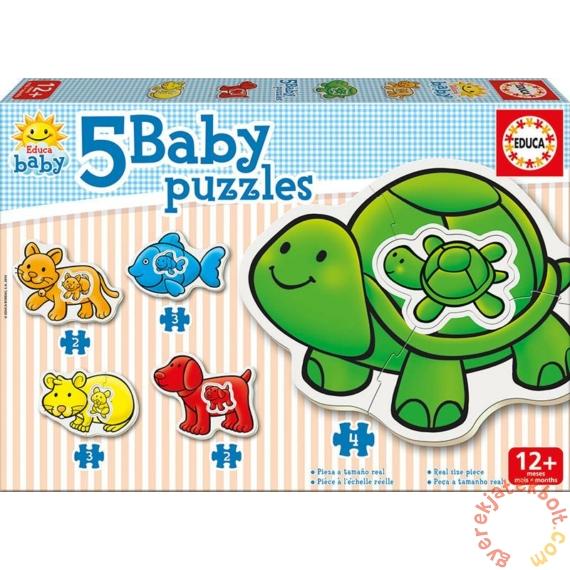 Educa 5 az 1-ben Baby sziluett puzzle (2,3,4 db-os) - Állatok - Teknőcös (14864)