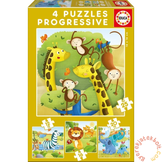 Educa 4 az 1-ben puzzle (12,16,20,25) - Vadállatok (17147)