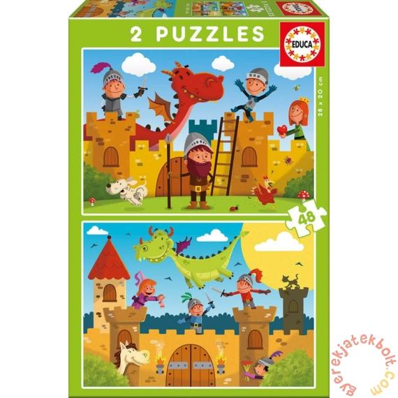 Educa 2 x 48 db-os puzzle - Lovagok és sárkányok (17151)