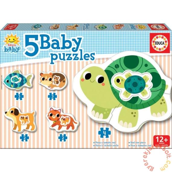Educa 5 az 1-ben Baby sziluett puzzle (2,3,4 db-os) - Állatok - Teknőcös II. (17573)