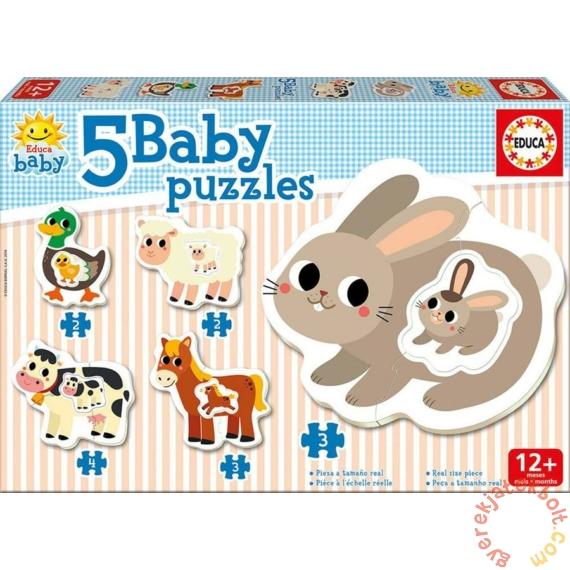Educa 5 az 1-ben Baby sziluett puzzle (3,4,5 db-os) - Állatok - Nyuszis (17574)