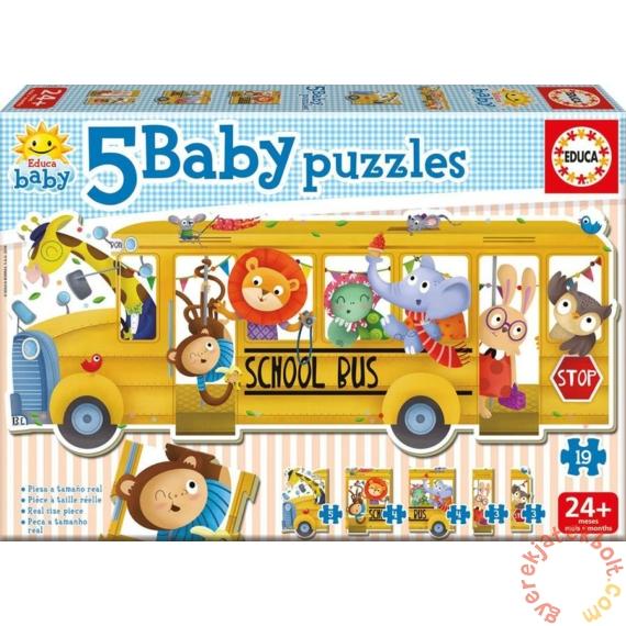 Educa 5 az 1-ben Baby sziluett puzzle (3,4,5 db-os) - Iskolabusz állatokkal (17575)