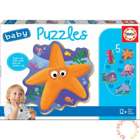 Educa 5 az 1-ben Baby sziluett puzzle (2,3,4 db-os) - Tengeri állatok (18058)
