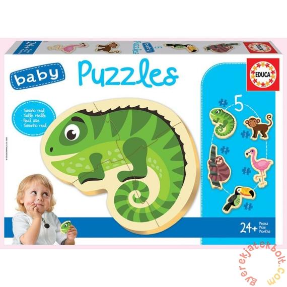 Educa 5 az 1-ben Baby sziluett puzzle (3,4,5 db-os) - Trópusi állatok (18587)