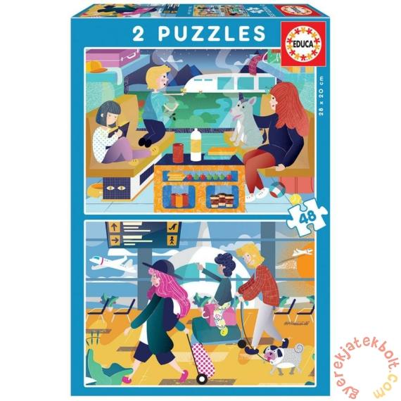 Educa 2 x 48 db-os puzzle - A repülőtéren és a vonaton (18604)