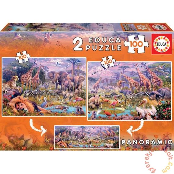 Educa 2 x 100 db-os puzzle - Mesés szavanna (18606)