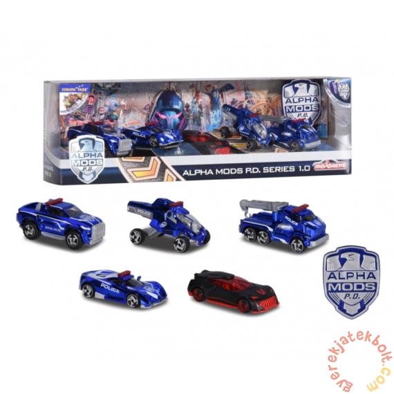Majorette 5 db-os kisautó ajándékszett - Alpha Mods - Rendőrségi autók (2058503)