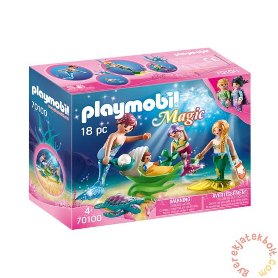 Playmobil - Magic - Sellőcsalád kagylóbabakocsival játékszett