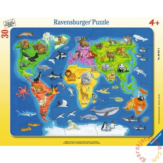 Ravensburger 30 db-os keretes puzzle - Világtérkép állatokkal (06641)