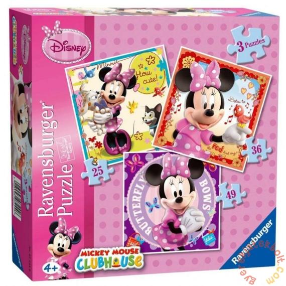 Ravensburger 3 az 1-ben puzzle (25, 36, 49 db-os) - Minnie Mouse (07244)