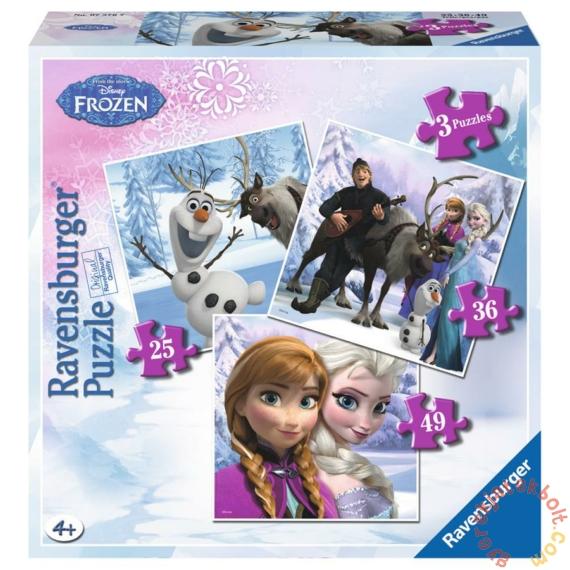 Ravensburger 3 az 1-ben puzzle (25, 36, 49 db-os) - Jégvarázs - Anna, Elsa és barátaik (07276)