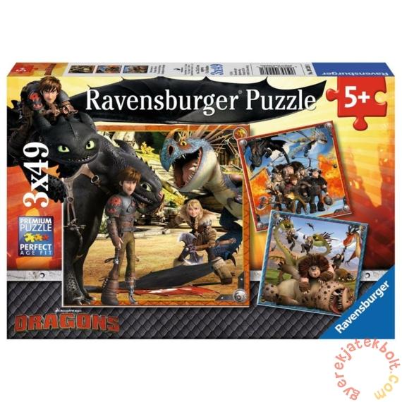 Ravensburger 3 x 49 db-os puzzle - Így neveld a sárkányodat (09258)