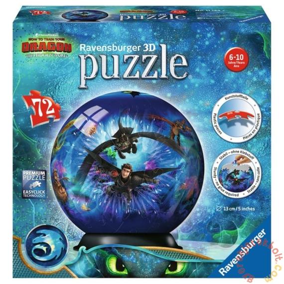 Ravensburger 72 db-os 3D gömb puzzle - Így neveld a sárkányodat 3 (11144)