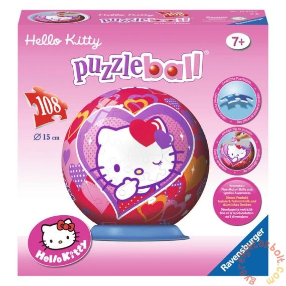 Ravensburger 108 db-os 3D gömb puzzle - Hello Kitty - Szívecskés (12213)