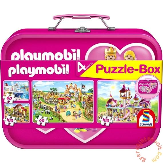 Schmidt 2x60+2x100 db-os puzzle fém bőröndben - Pink Playmobil Puzzle-Box (56498)