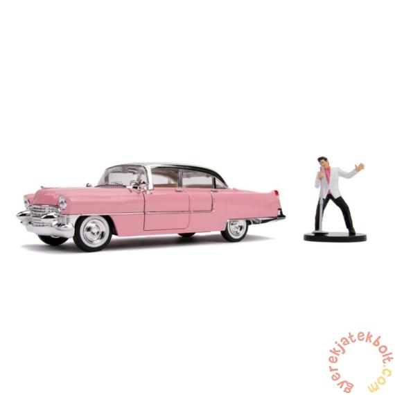 Hollywood Rides fém autómodell - Elvis figurával - 1955 Cadillac Fleetwood - 21 cm