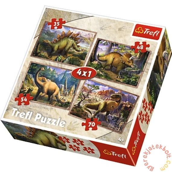 Trefl 4 az 1-ben puzzle (35,48,54,70 db-os) - Dinoszauruszok (34249)