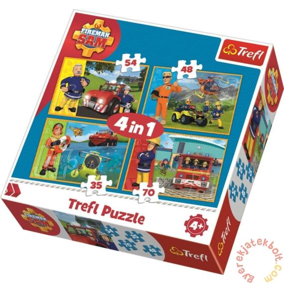 Trefl 4 az 1-ben puzzle (35,48,54,70 db-os) - Sam, a tűzoltó és a csapat (34311)