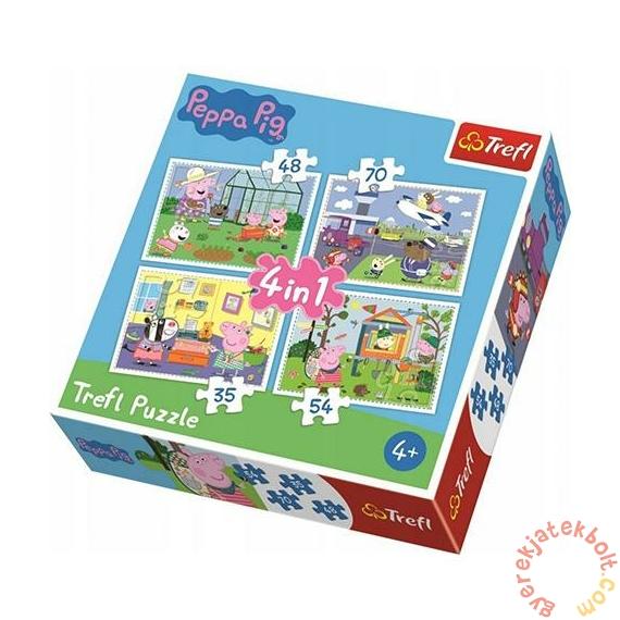 Trefl 4 az 1-ben puzzle (35,48,54,70 db-os) - Peppa malac - A nyár emlékei (34316)