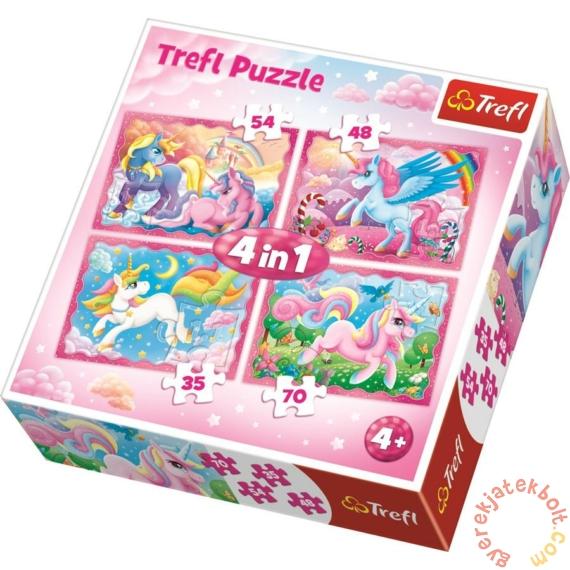 Trefl 4 az 1-ben puzzle (35,48,54,70 db-os) - Az unikornisok varázslatos világa (34321)